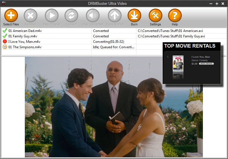 convert rented movies from Apple iTunes store